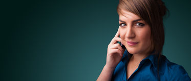 Young woman making phone call with copy space Royalty Free Stock Photos