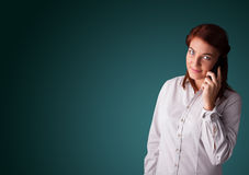 Young woman making phone call with copy space Stock Photos