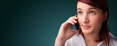 Young woman making phone call with copy space Stock Photography