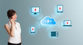 Young woman making phone call and presenting cloud computing net Stock Image