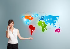 Free Young Woman Making Phone Call With Colorful Map Royalty Free Stock Images - 38696269