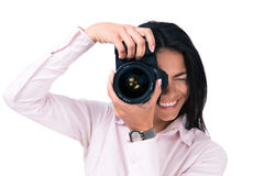Young woman making photo on camera Royalty Free Stock Photos