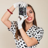 Young woman making photos Royalty Free Stock Photos