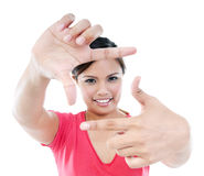 Young Woman Making Picture Frame Gesture Royalty Free Stock Photography