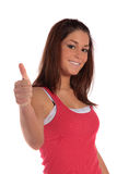 Young woman making positive gesture Stock Photo