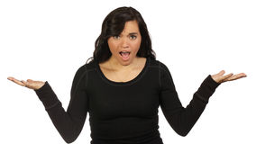 Young woman making a questioning gesture Stock Images