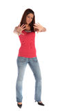 Young woman making a repelling gesture Stock Image