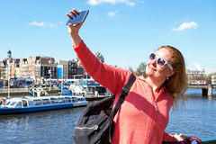 Young woman making a selfie in Amsterdam Netherlands Stock Photo