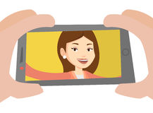 Young woman making selfie vector illustration. Stock Photo