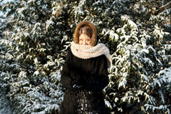 Young woman making snowball Stock Images