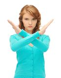 Young woman making stop gesture Stock Photos