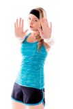 Young woman making stop gesture sign Royalty Free Stock Images
