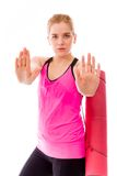 Young woman making stop gesture sign from both hands Stock Images
