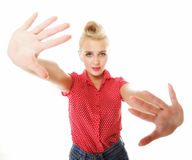 Young woman making stop gesture sign Stock Photo