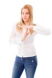 Young woman making time out signal with hands Royalty Free Stock Photo