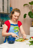 Young woman making vegetarian vegetable salad. Beautiful young woman making vegetarian vegetable salad Royalty Free Stock Photo
