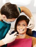 Young woman and male dentist. Dentist making anaesthetic injection to women patient Royalty Free Stock Photos