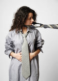 Young woman in the male shirt and ties Royalty Free Stock Photos