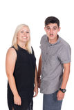 Young woman and man. Young caucasian couple or siblings in studio Stock Photo