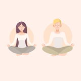 Young woman and man couple meditating with crossed legs. Relaxation, isolated people illustration. Stock Images