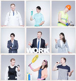Young woman and man doing different jobs in special uniforms Royalty Free Stock Photo