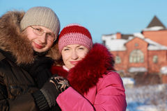 Young woman and man in glasses at winter Stock Image