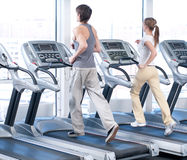 Young woman and man at the gym exercising. Running Royalty Free Stock Image