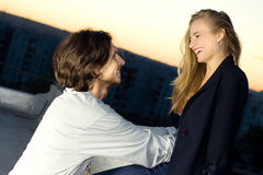Young woman and man happy smiling. Outdoor Royalty Free Stock Photos