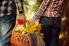 Young woman and man holding a basket with blanket, yellow leaves coffee, close-up. Young woman and man holding a basket with a blanket, yellow leaves and coffee Royalty Free Stock Photography