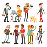 Young woman, man and kid with smartphone and gadgets stock illustration