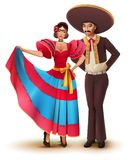 Young woman and man in Mexican national traditional clothes Stock Photo