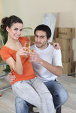 Young woman and man new home Royalty Free Stock Images