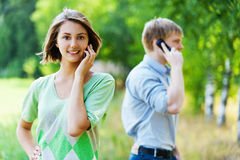 Young woman man phone Royalty Free Stock Images