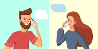 Young woman and man talking on a mobile phone with quote empty place. Social communication concept. Smiling cartoon. Character vector illustration royalty free illustration