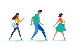 Young woman and man walking, go on business, to university. stock illustration