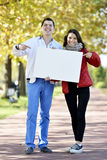 Young woman and man walking Stock Photo