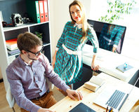 Young woman and man working from home - modern business concept Stock Photo