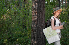 Young woman with map. Beautiful young woman standing near the tree in forest with backpack, map and bottle of water, smiling and looking away from camera Stock Photos