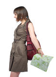 Young woman with map Stock Photography