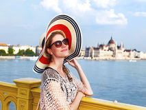 Young woman on Margaret bridge Budapest Royalty Free Stock Images