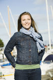 Young Woman at Marina Stock Photo