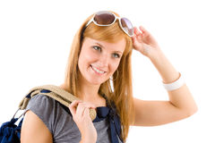 Young woman in marine outfit fashion portrait Royalty Free Stock Photography
