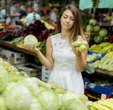 Young woman at the market Stock Images