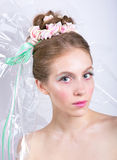 Young woman with marshmallow makeup style beauty fantasy. Stock Photos