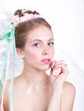 Young woman with marshmallow makeup style beauty fantasy. Royalty Free Stock Image