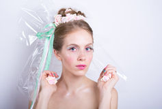Young woman with marshmallow makeup style beauty fantasy. Royalty Free Stock Photography