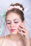 Young woman with marshmallow makeup style beauty fantasy. Royalty Free Stock Images
