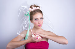 Young woman with marshmallow, makeup style beauty fantasy. Stock Photography