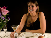 Young woman with martini Stock Photography
