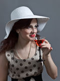 Young woman with martini Royalty Free Stock Photo